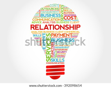 Relationship bulb word cloud, business concept - stock photo