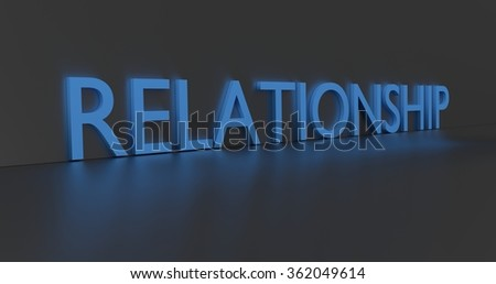 Relationship concept word - blue text on grey background.