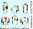 Relationship concepts set with phone call online chat conflict romance holiday dating  illustration - stock photo