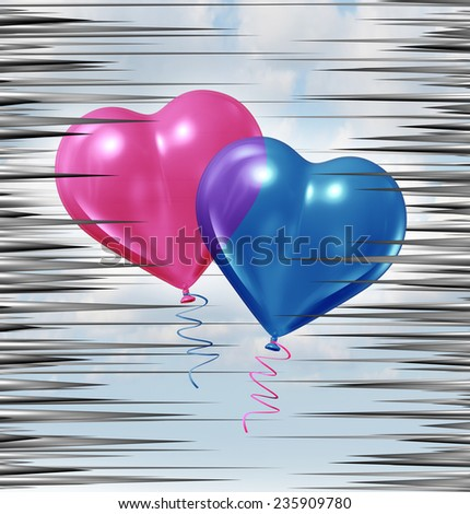 Relationship crisis and couple problems as a pink and blue baloon shaped as a heart floating up through a group of sharp needles as a love and romance metaphor for life partnership trouble. - stock photo