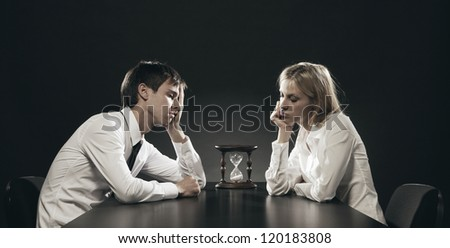 Relationship difficulties: bored couple - stock photo