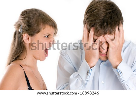 relationship difficulties: young couple having a conflict - stock photo