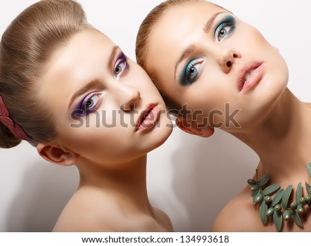 Relationship. Portrait of Affectionate Beautiful Women. Tenderness and Freshness - stock photo