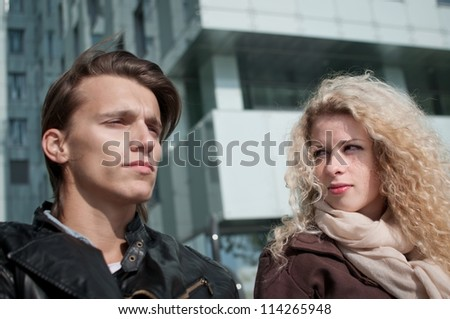 Relationship problems - couple outdoor - stock photo