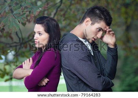 Relationship problems - young couple - stock photo