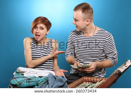 Relationship problems. Young couple quarrelling, shouting.  - stock photo