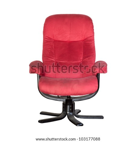 Relax armchair color red  on white background - stock photo