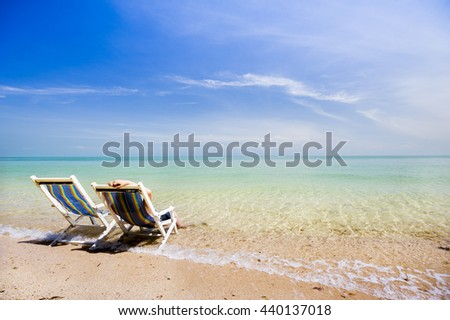 Relax chair on beach - stock photo