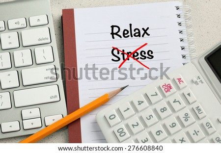 relax concept with no stress, with office desk background - stock photo
