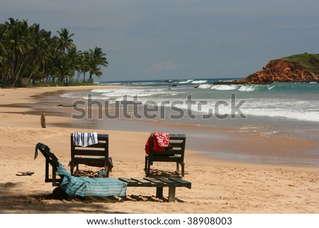relax in mirissa beach, unawatuna, sri lanka - stock photo