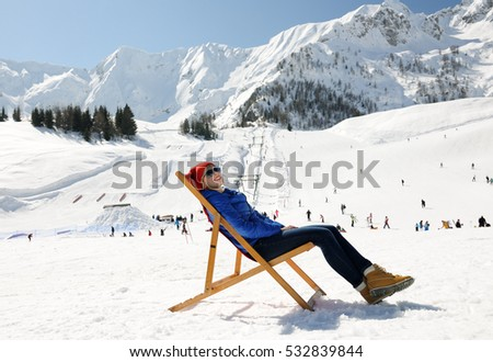 relax in winter mountains