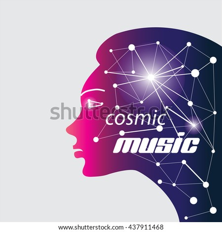 Relax music woman profile - stock photo