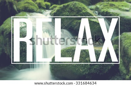 Relax Rest Relaxation Waterfall Lithophyte Concept - stock photo