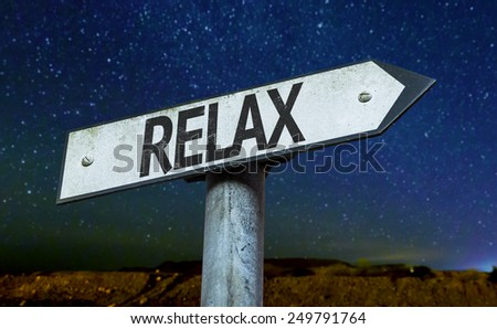 Relax sign with a beautiful night background - stock photo