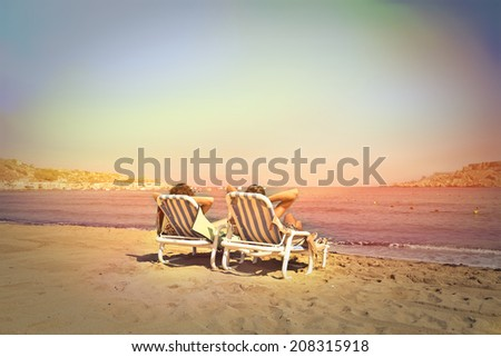 relax time on the beach - stock photo