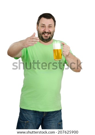 Relax with mug of lager - says mature bearded man in green t-shirt standing on white background