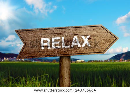 Relax wooden road sign with green grass and blue sky background. - stock photo