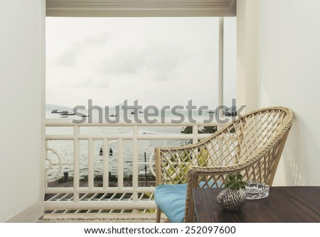 relaxation and seaview on the balcony - stock photo