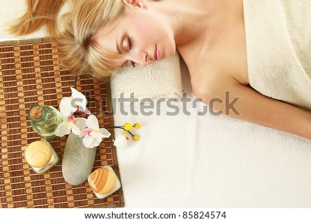 Relaxation at spa salon - stock photo