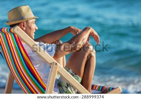 Relaxation, Comfortable, Beach. - stock photo