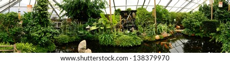 Relaxation garden panorama - stock photo