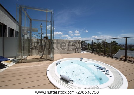 Relaxation in luxury bubble bath-3 - stock photo