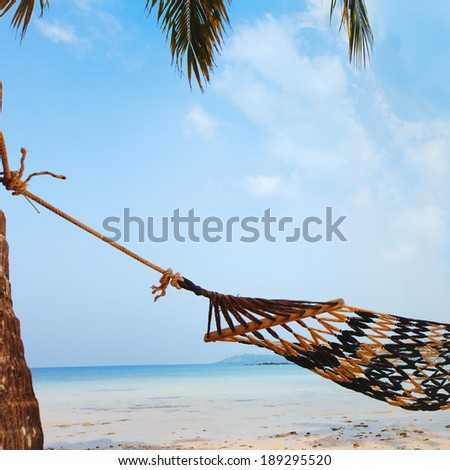 relaxation on beautiful tropical beach, vacations - stock photo