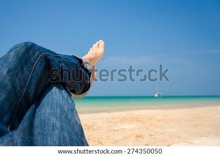Relaxation on the beach - stock photo