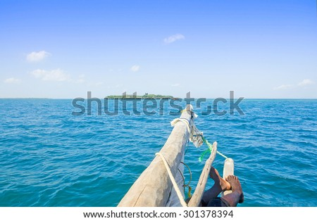 Relaxation  on the Boat on the coast of Zanzibar - stock photo