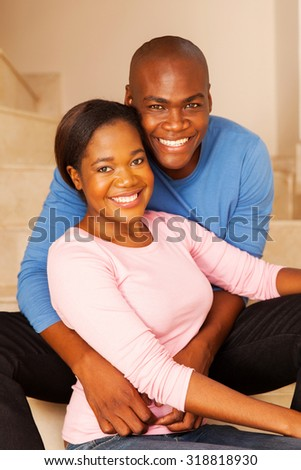 relaxed african american couple indoors - stock photo