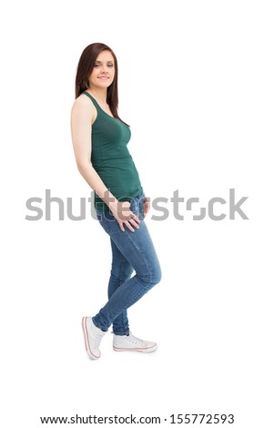 Relaxed casual woman posing on white background