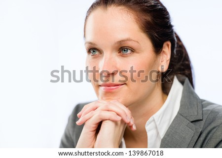 Relaxed female business employee over white background - stock photo
