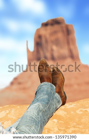 relaxed in front of Monument Valley tribal Parl, American Southwest - stock photo