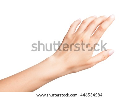 Relaxed left female palm with neutral manicure isolated on white background - stock photo