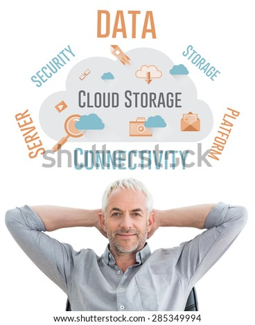 Relaxed mature businessman with hands behind head against cloud computing - stock photo