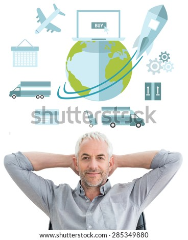 Relaxed mature businessman with hands behind head against logistics graphic - stock photo