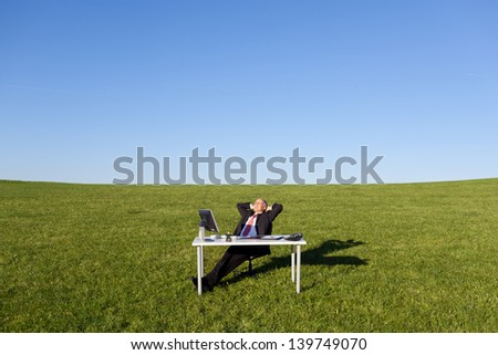 Relaxed mature businessman with hands behind head on field - stock photo