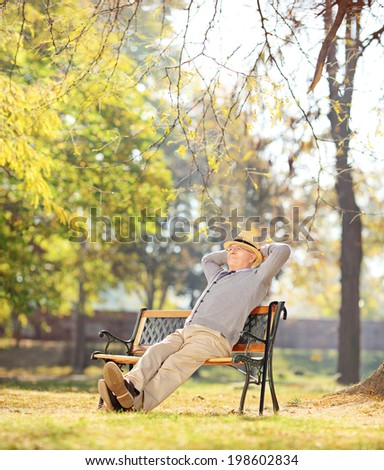 Relaxed pensioner sitting on a bench in park shot with tilt and shift lens - stock photo