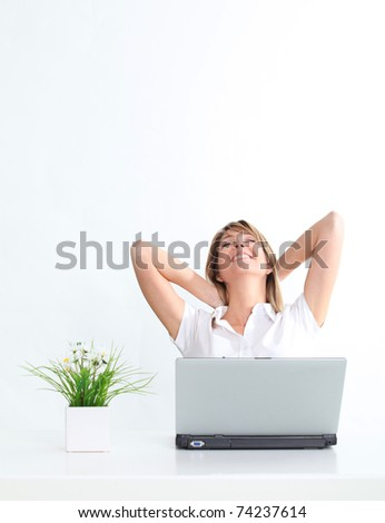 Relaxed woman and cool business - stock photo