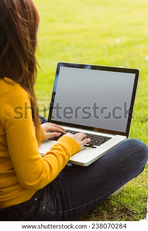 Relaxed young woman using laptop in the park - stock photo