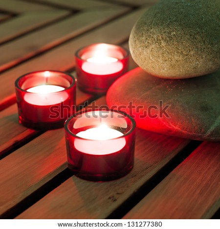 relaxing atmosphere with warm light and mineral elements - stock photo