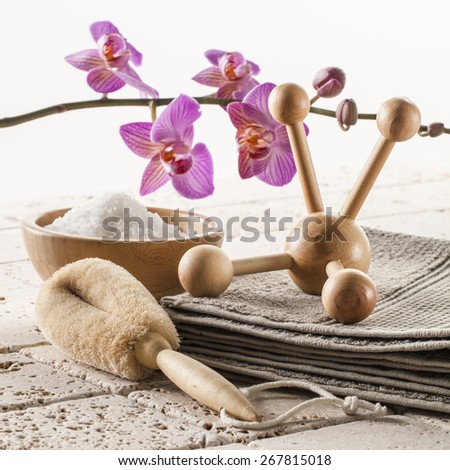 relaxing bath and massage for zen spa treatment - stock photo