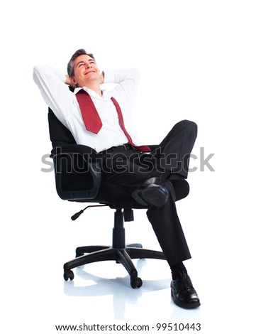 Relaxing businessman.  Isolated on white background.