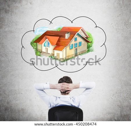 Relaxing businessman with hands behind head thinking about real estate on concrete background. Mortgage concept - stock photo