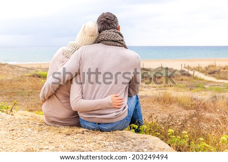relaxing carefree the coast in autumn - stock photo