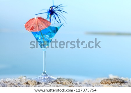 relaxing cocktail blue summer sea - stock photo