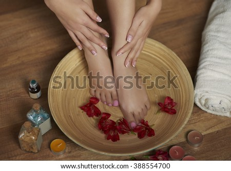 Relaxing foot treatment at Spa - stock photo