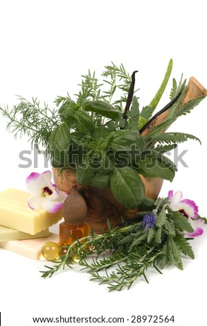 Relaxing herbs, oil and soaps for aromatherapy - stock photo