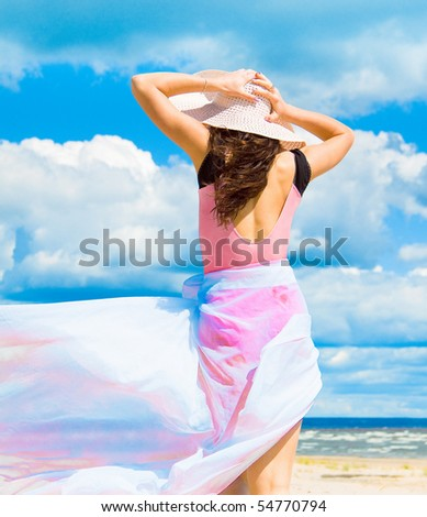 Relaxing on a Beach - stock photo