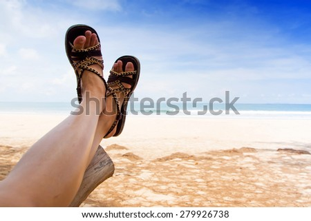Relaxing on beach - stock photo